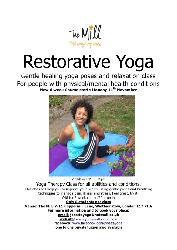Restorative Yoga new 6 week course starts 11th November in Walthamstow